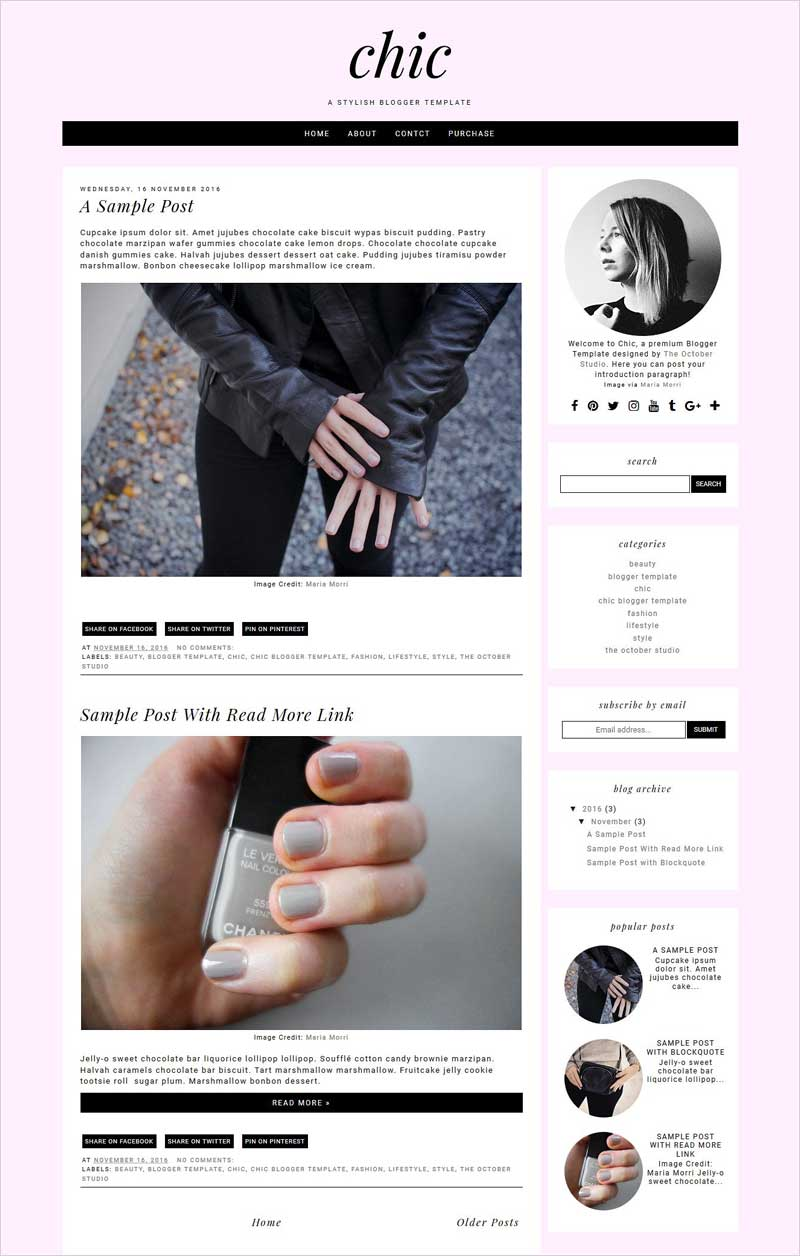 Chic---Pre-made-Blogger-Template
