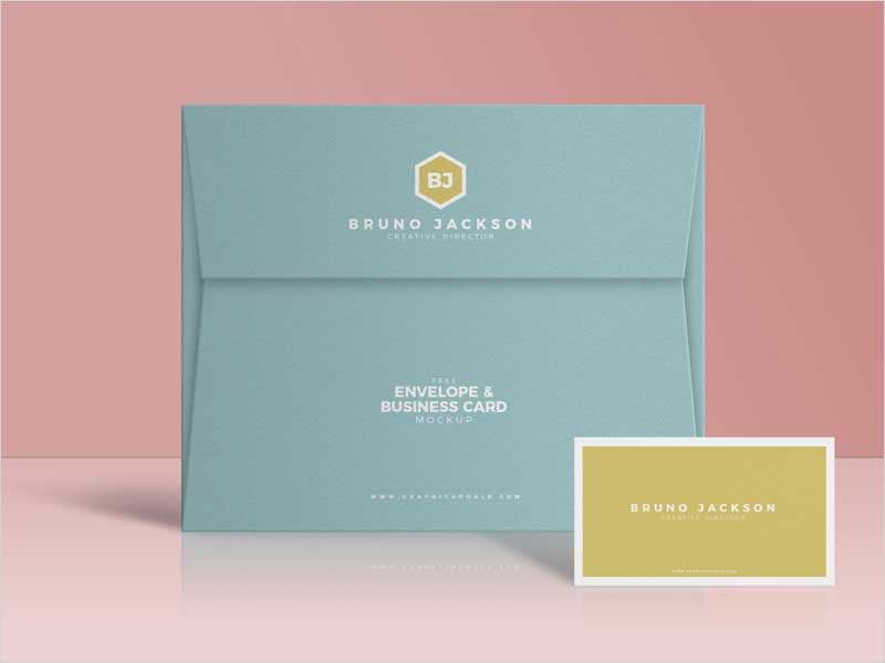 Free-Envelope-&-Business-Card-Mockup-PSD
