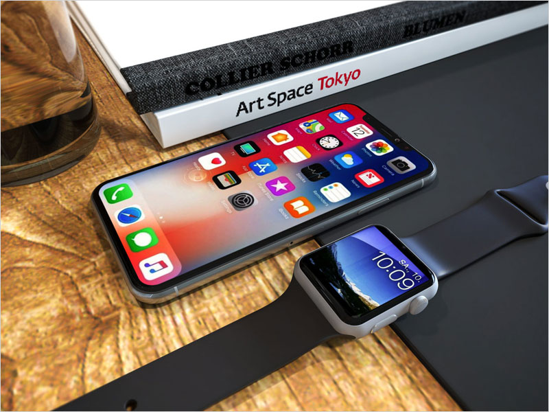 Free-Iphone-X-With-Apple-Watch-Display-Mockup
