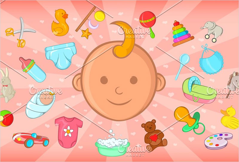 Baby-born-horizontal-banner,-cartoon