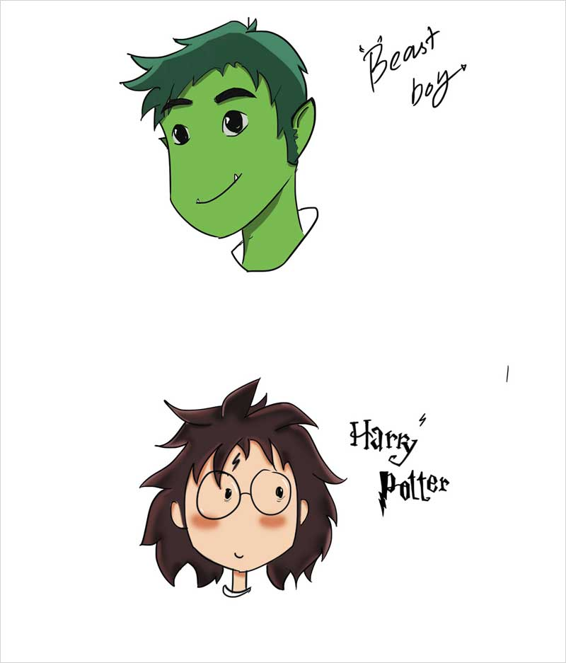 Beast-Boy-and-Harry-Potter