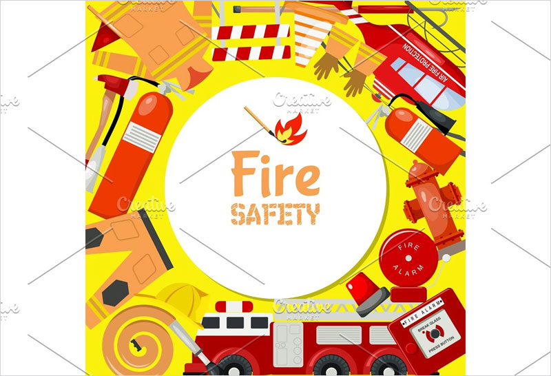 Fire-safety-round-pattern-vector