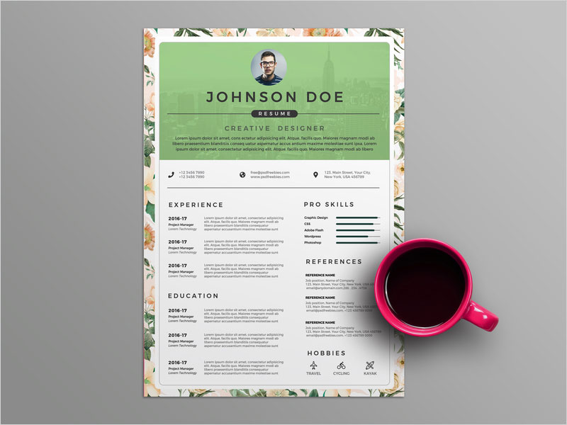 Free-Floral-CV-Resume-Template
