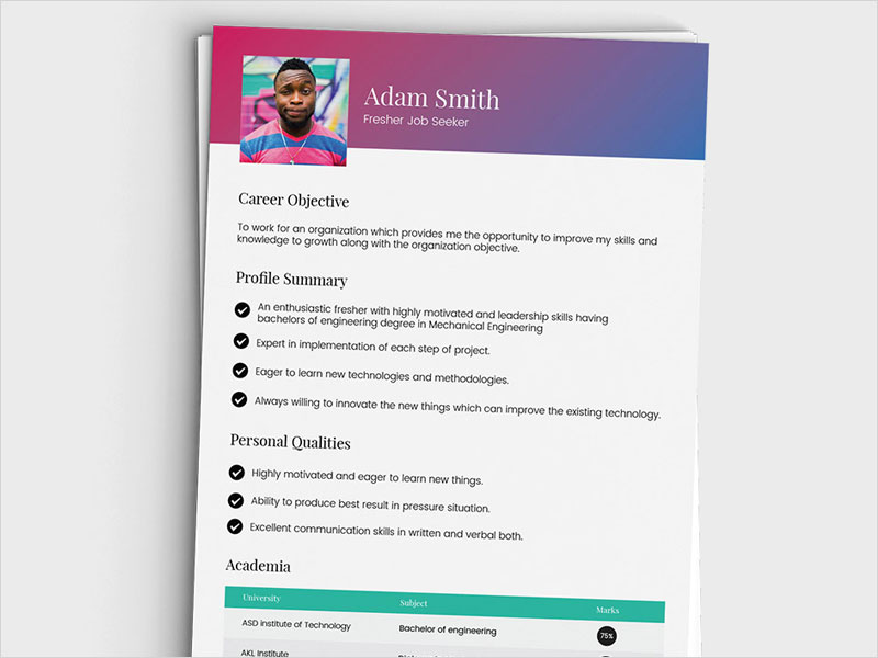 Free-Fresh-Vector-Resume-Template
