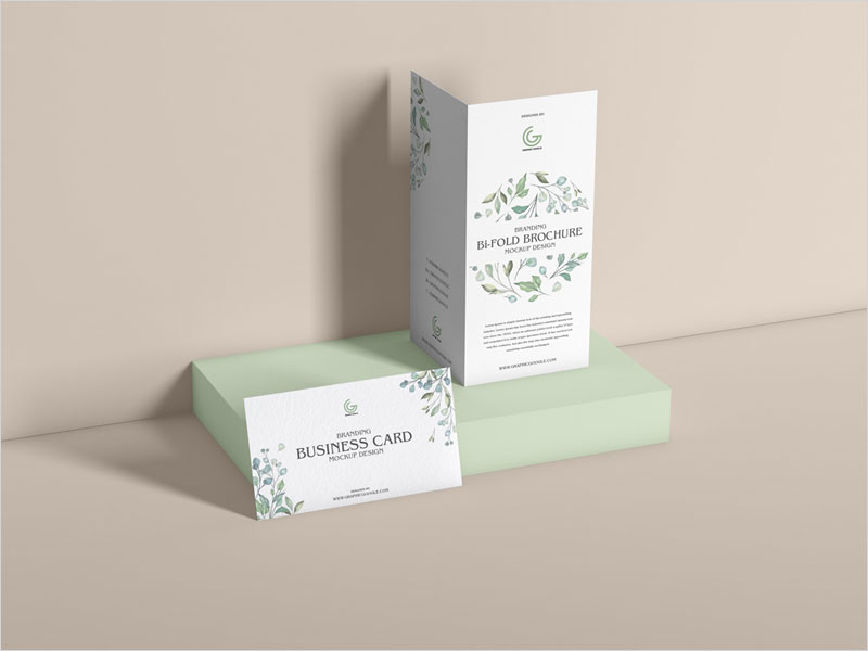 Free-PSD-Bi-Fold-Brochure-With-Business-Card-Mockup-Design