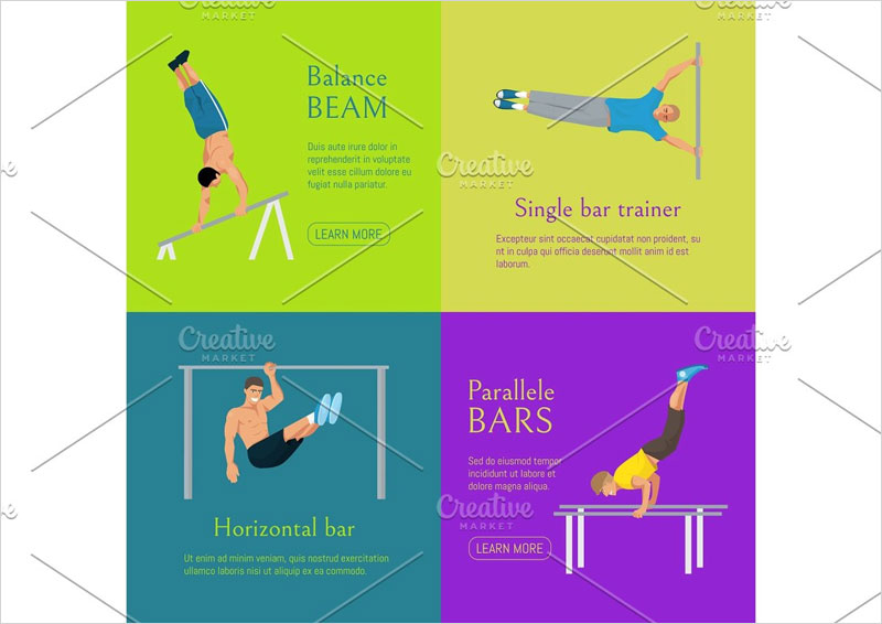 Male-gymnast-banner-vector