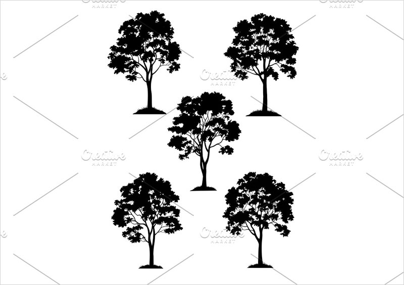 Maple-Trees-and-Grass-Silhouette