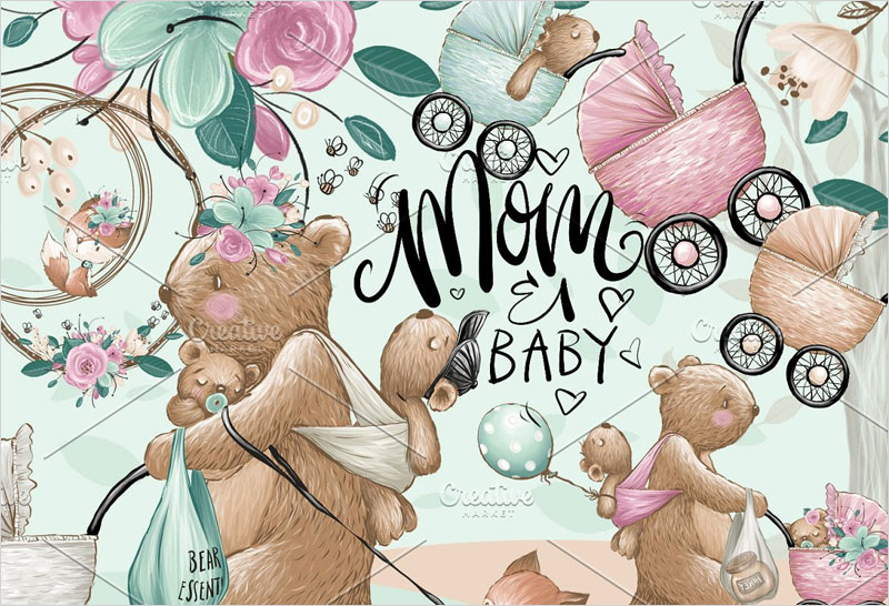 Mom-Baby-Clipart,-Bears-hand-painted
