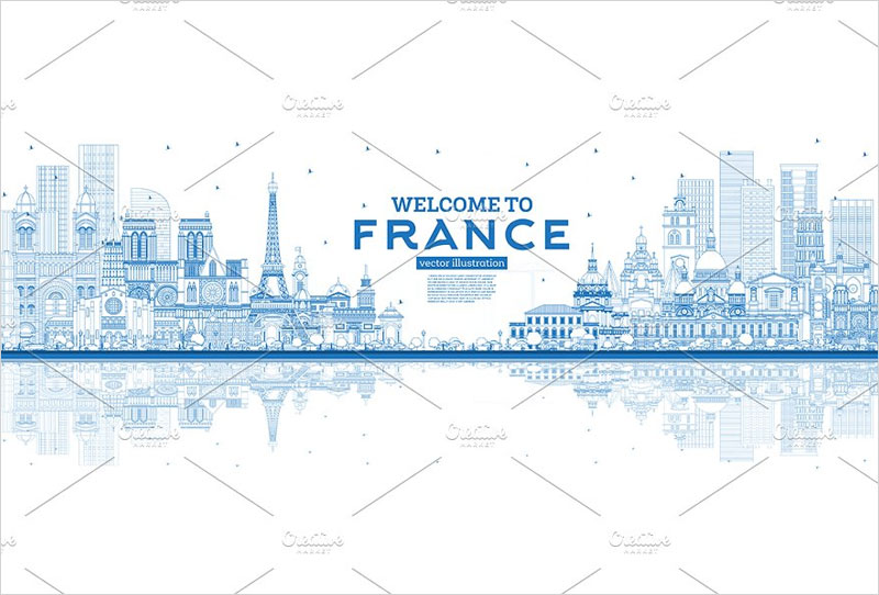 Outline-Welcome-to-France-Skyline