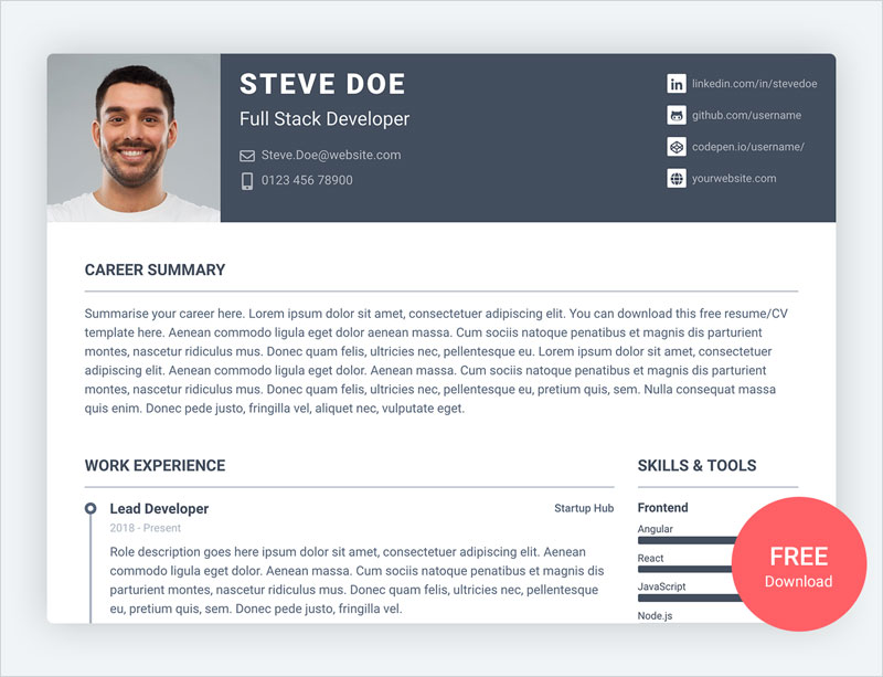 Pillar-–-Free-Bootstrap-4-Resume-CV-Template-for-Developers