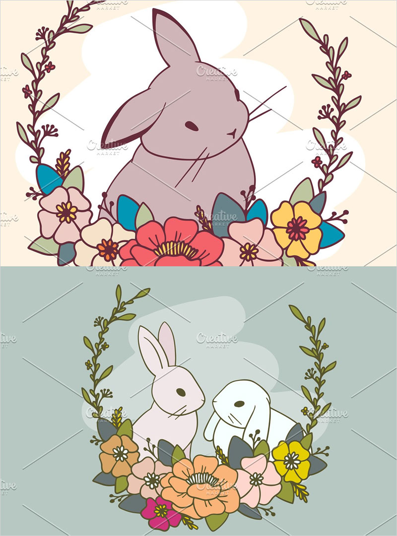 Set-of-romantic-rabbit-illustrations