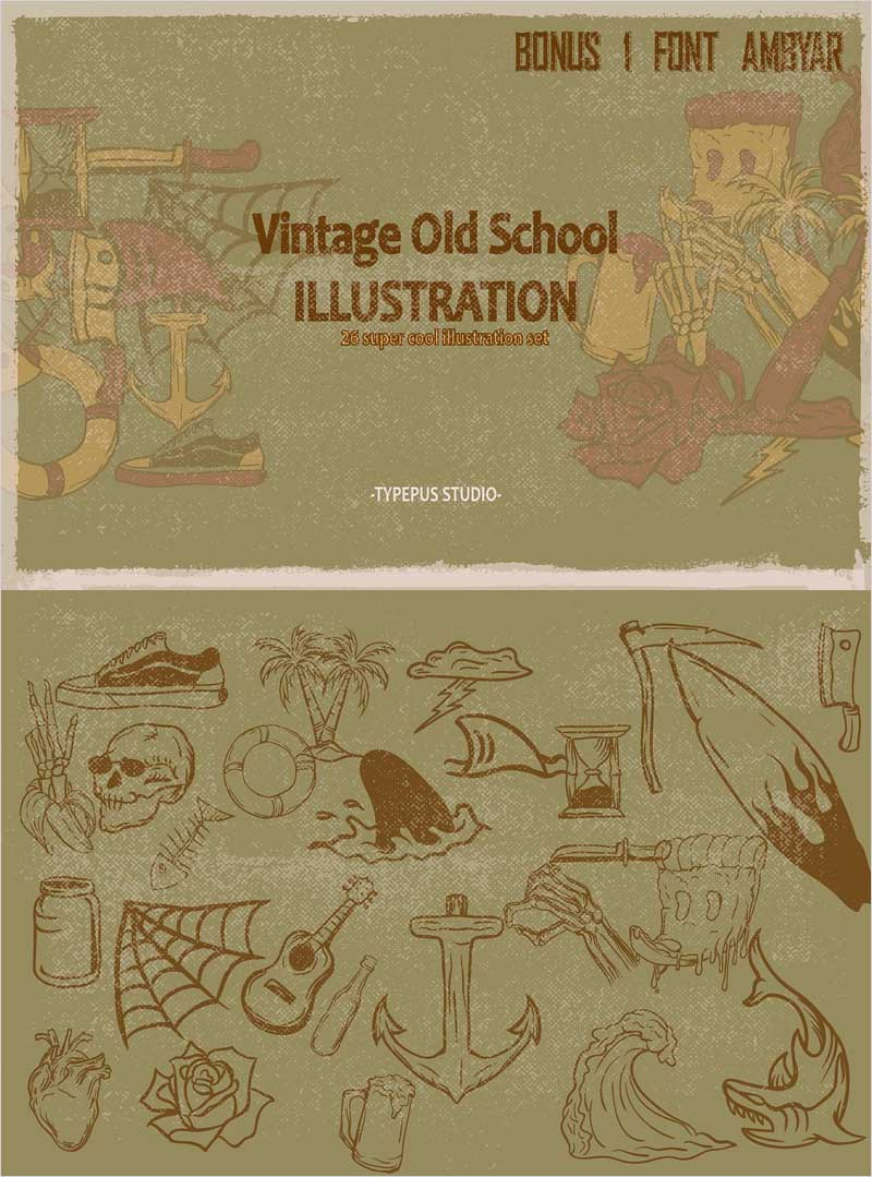 Vintage-Old-School-Illustration-Set