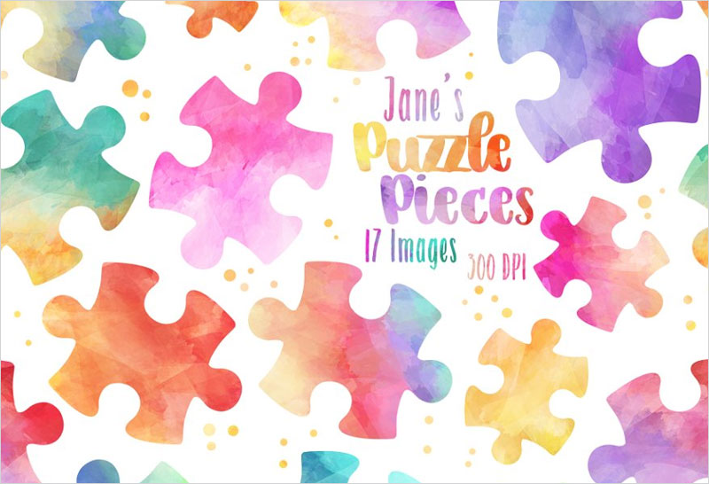Watercolor-Puzzle-Pieces-Clipart