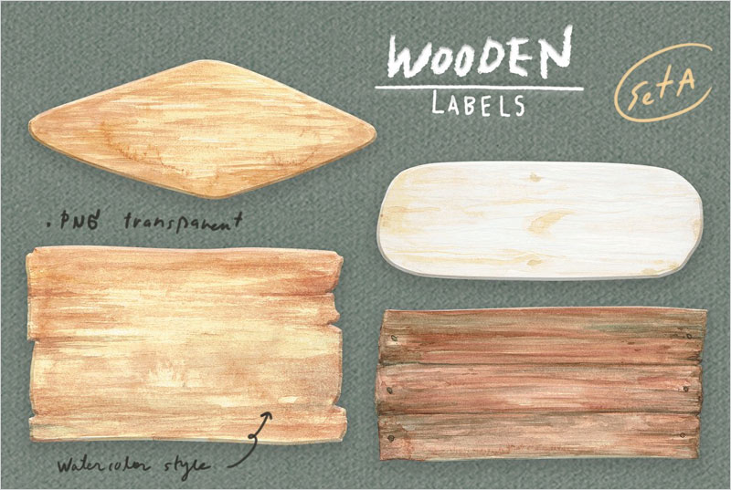 Watercolor-Wooden-Labels-Set-A