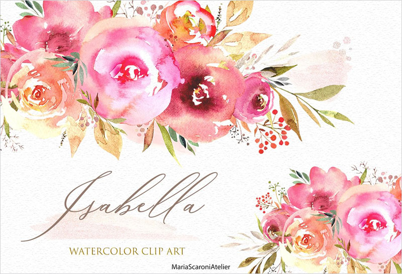 Watercolor-floral-set---Isabella