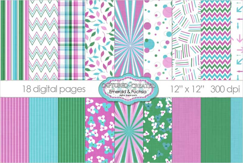 18-Emerald-&-Fuchsia-Digital-Papers