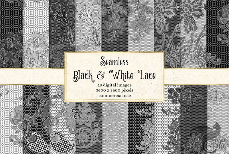 Black-and-White-Lace-Digital-Paper