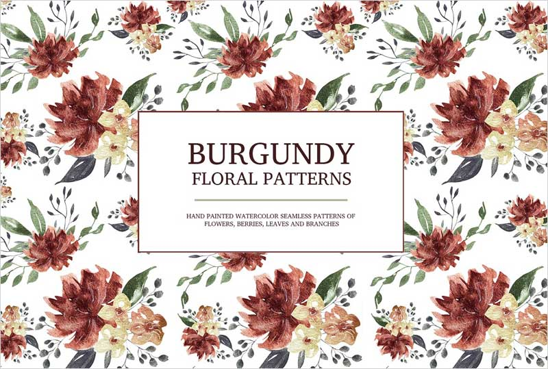 Burgundy-floral-seamless-patterns