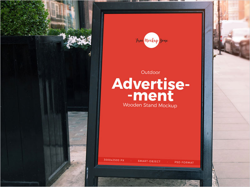 Free-Outdoor-Advertisement-Wooden-Banner-Stand-Mockup-PSD