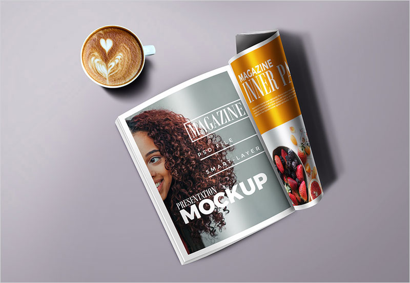 Magazine-with-Cup-Mockup