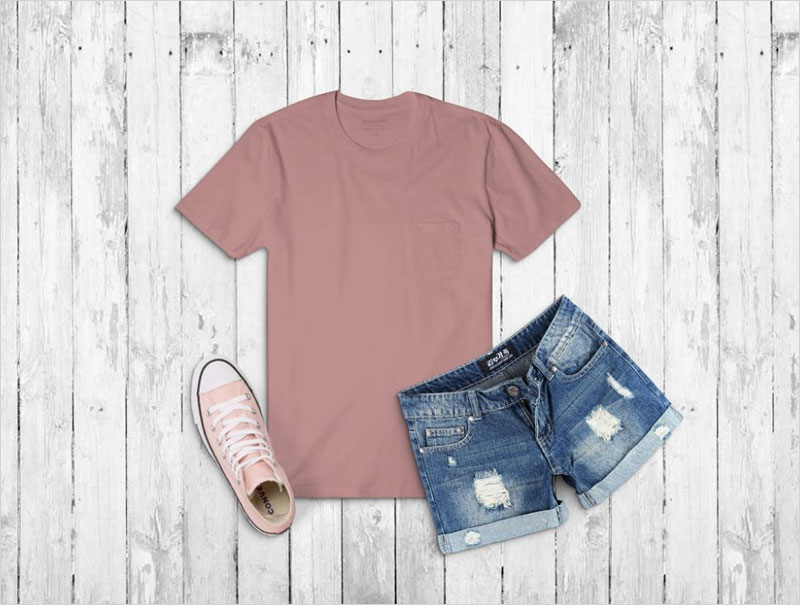 T-Shirt-with-Jeans-Shorts-Mockup