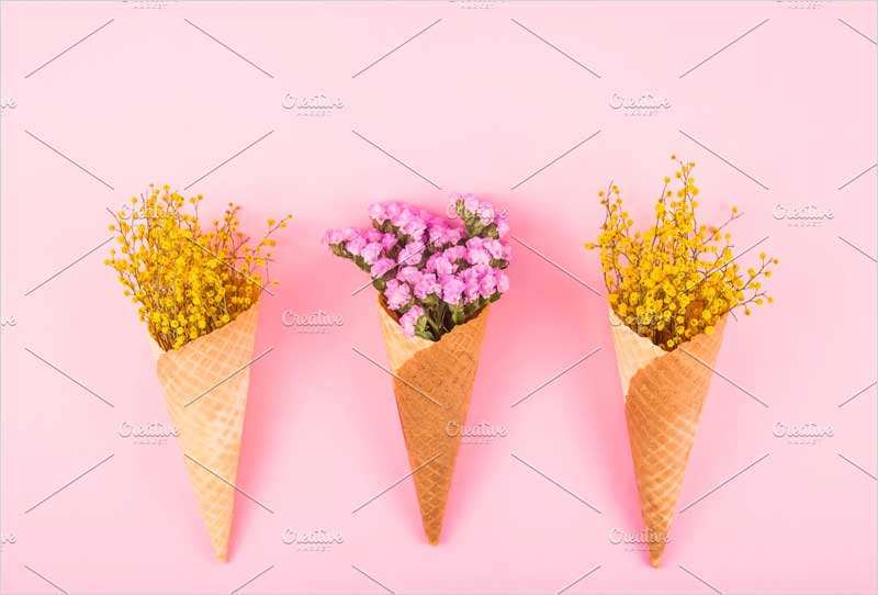 Yellow-and-pink-flowers-in-cones