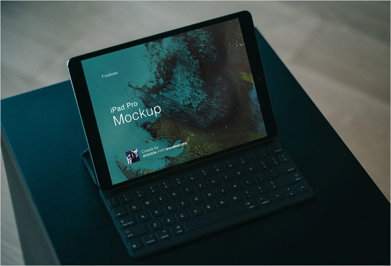 iPad-Pro-with-Keyboard-on-Table-Mockup