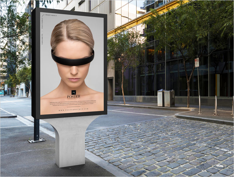 City-Outdoor-Billboard-Poster-Frame-Mockup-Free
