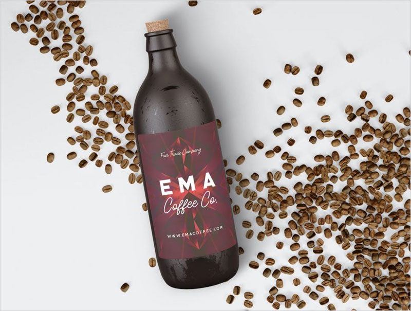 Coffee-Bottle-with-Decorations-Mockup