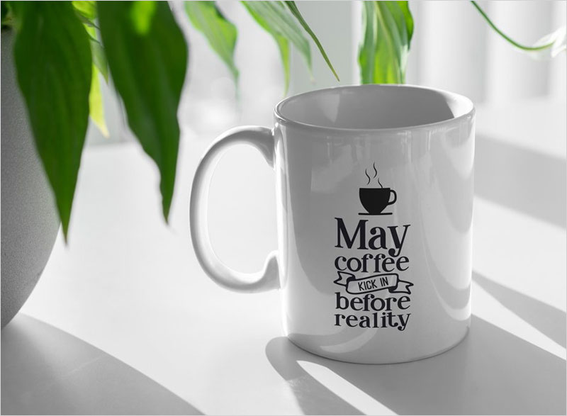 Coffee-Cup-and-Plant-Mockup