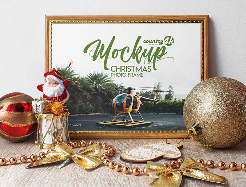 Free-Christmas-Photo-Frame-MockUp-in-4k