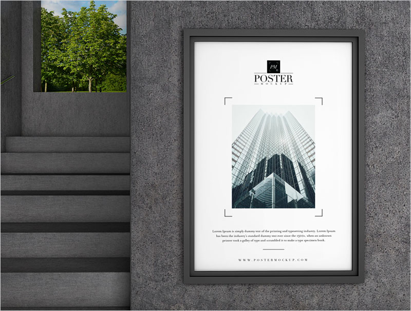 Industrial-PSD-Poster-Frame-Mockup-Free