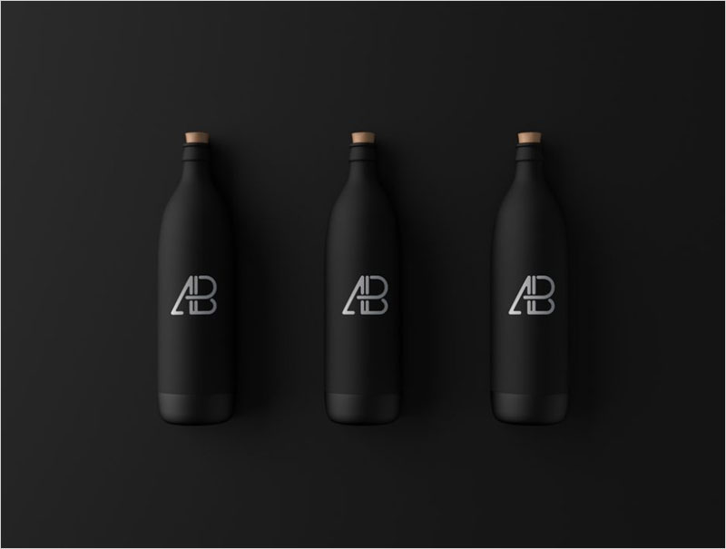 Three-matte-black-Bottles-Mockup