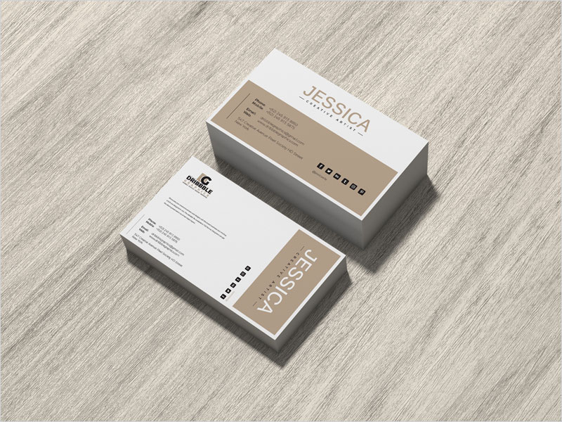 Free-Brand-Business-Card-on-Wood-Mockup