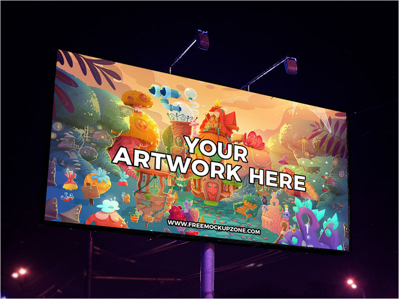 Free-Night-Scene-Billboard-Mockup