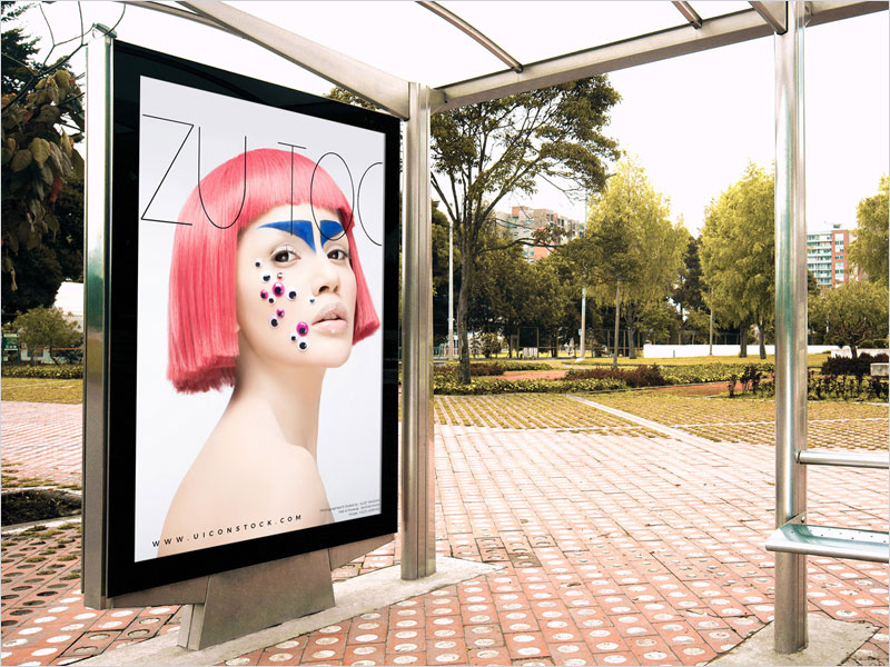Free-Outdoor-Branding-Bus-Stop-Billboard-Mockup-PSD