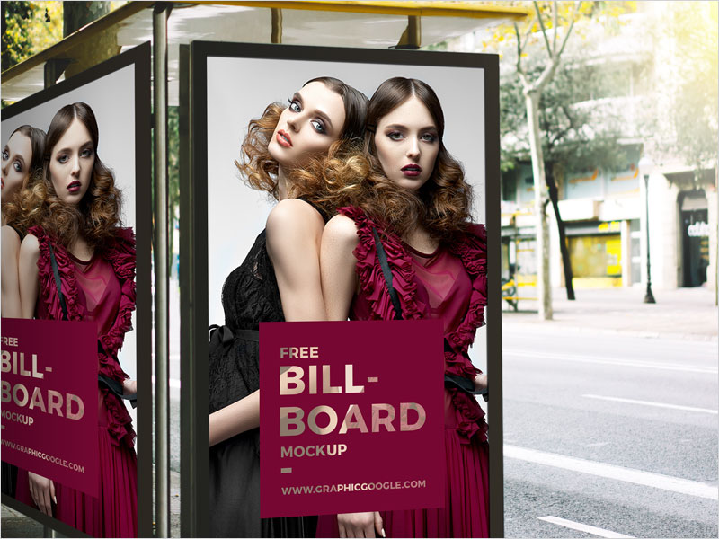 Free-Outdoor-Bus-Stop-Advertisement-Billboard-Mockup