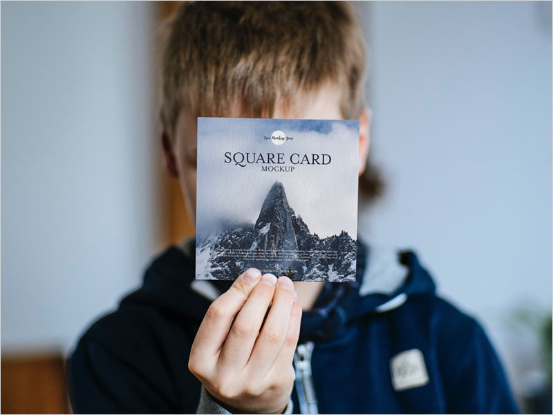 Little-Boy-Showing-Square-Card-PSD-Mockup