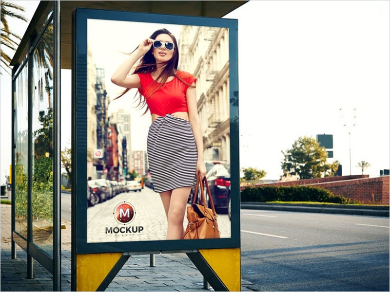 Outdoor-Bus-Stop-Billboard-Mockup-Free