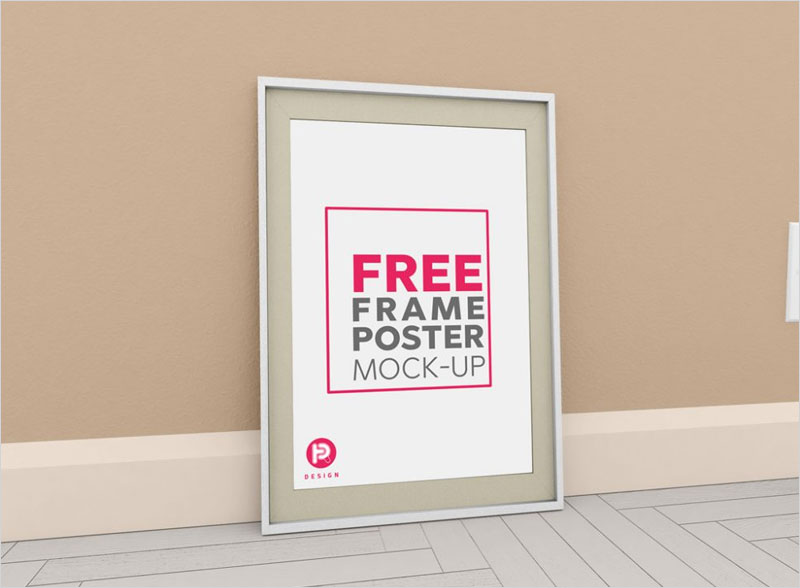 Free-Big-Poster-Frame-on-Wall-Mockup