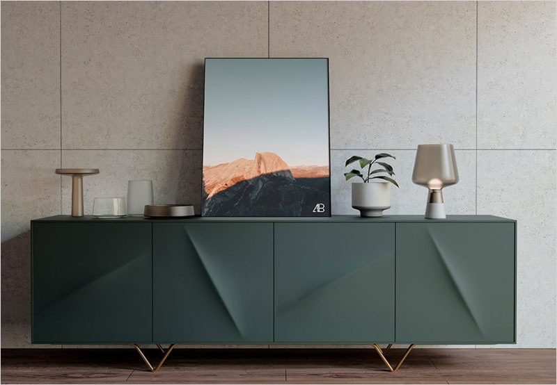 Free-Framed-Poster-on-Sideboard-Mockup