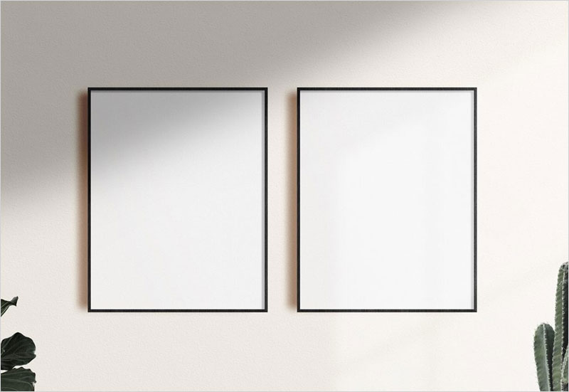 Free-Poster-Frames-on-a-Wall-Mockup