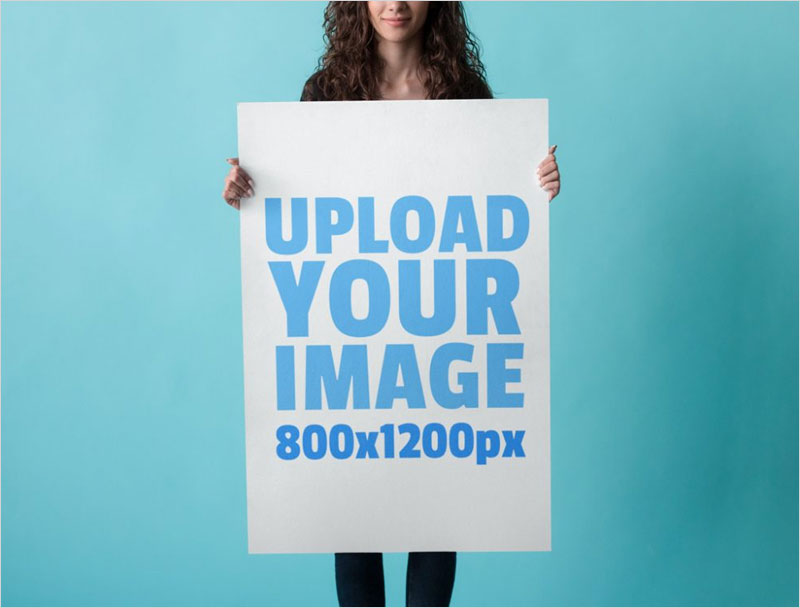 Free-Woman-holding-Poster-Mockup