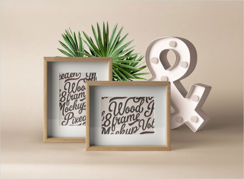 Free-Wooden-Photo-Frames-Mockup