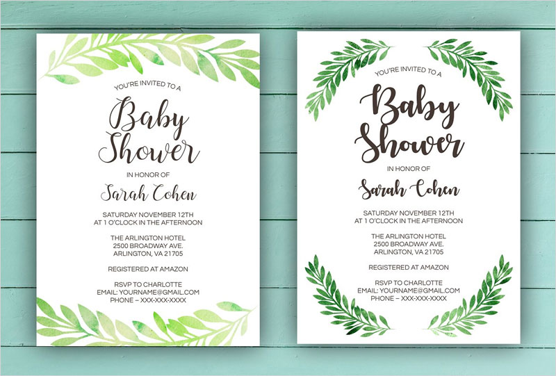 Green-Leaf-Baby-Shower-Invite-Set