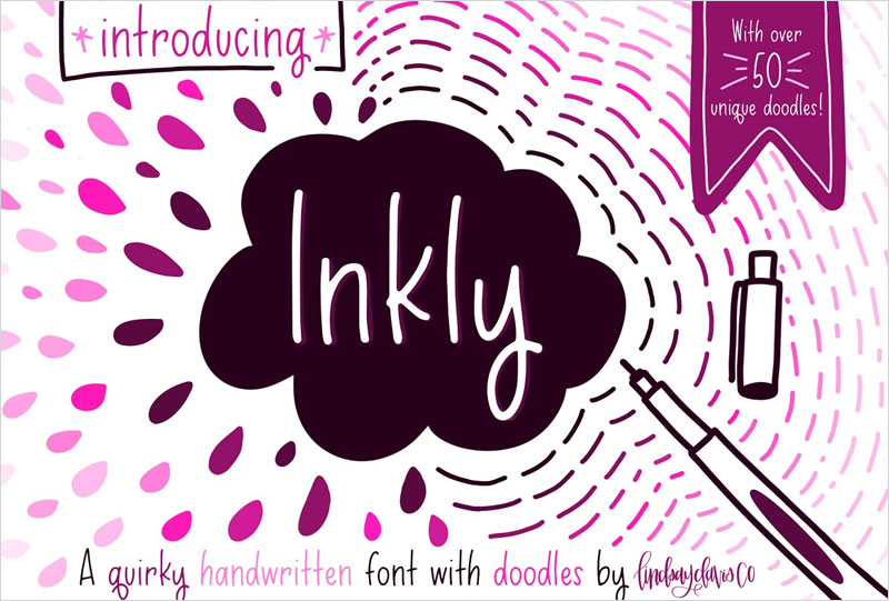 Inkly-Font-+-Doodles