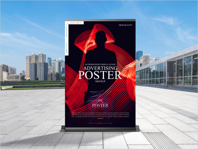 Outdoor-Office-Display-Stand-Advertising-Poster-Mockup-Free