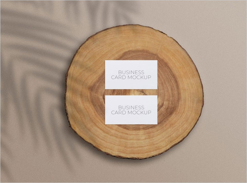 Free-Business-Cards-Mockup-on-a-Wood-Slice