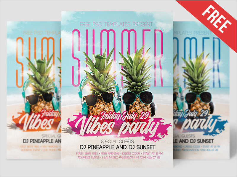 Free-Summer-Vibes-Party-Flyer-in-PSD