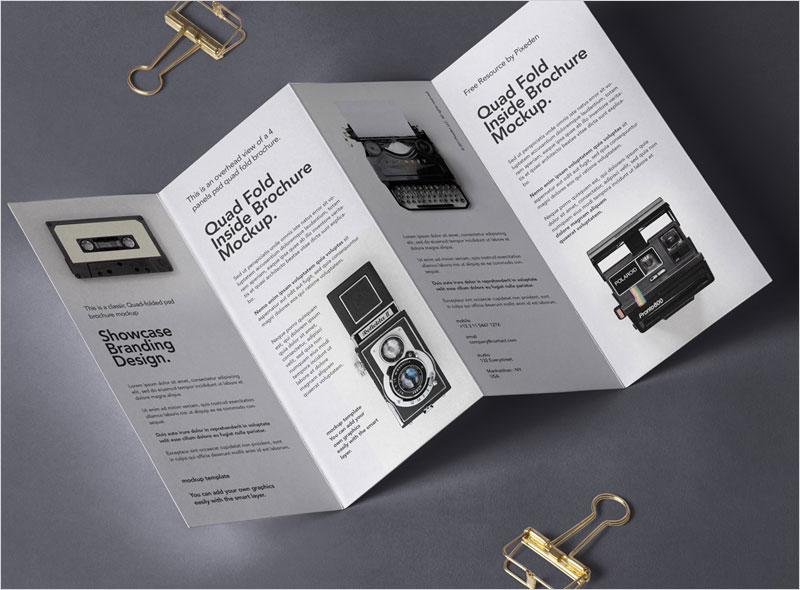 Free-Four-fold-Brochure-with-Metal-Clips-Mockup